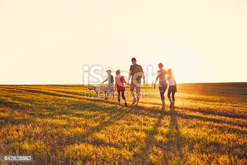 istock Family with dog on the trip 842628662