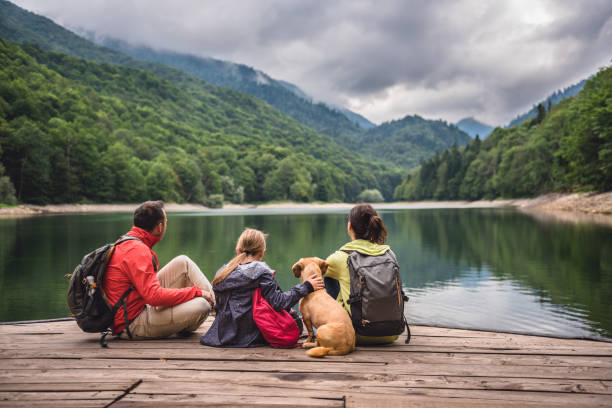 family with dog resting on a pier - vacations stock photos and pictures