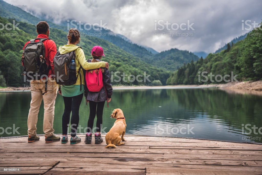 Family with dog standing on a pier stock photo