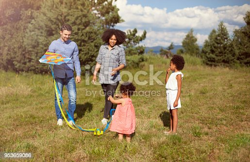 Family with flying kite in park