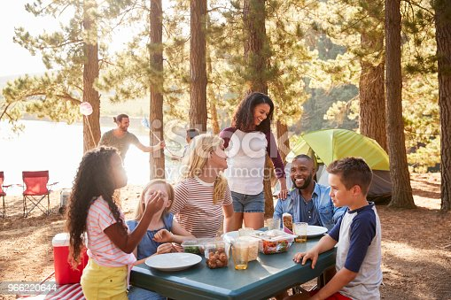 istock Family With Friends Camp By Lake On Hiking Adventure In Forest 966220644