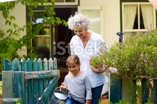 istock Family with gardening equipment in yard 492275667