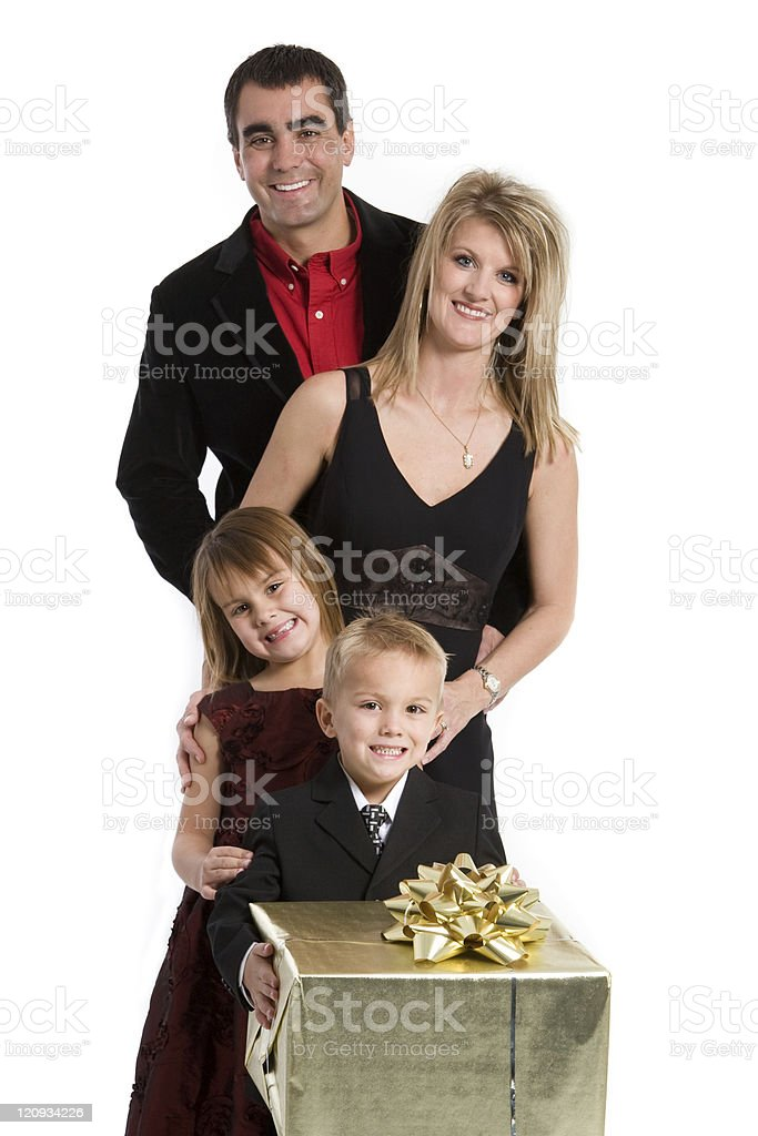 Family with Gift royalty-free stock photo