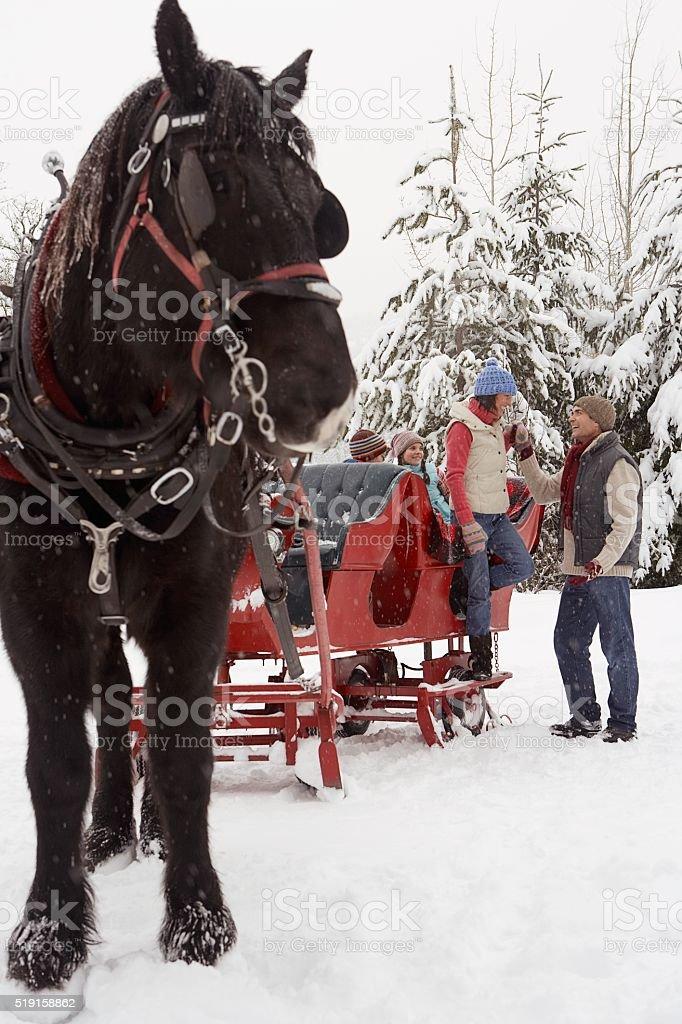 Family with horse drawn sleigh stock photo