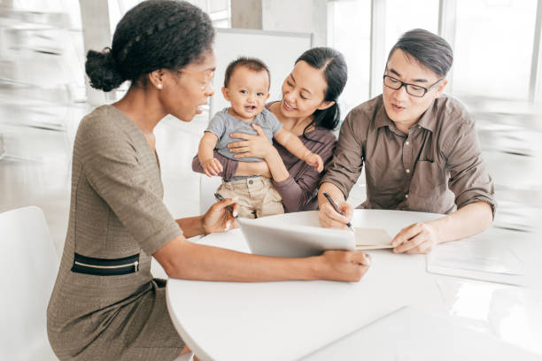 family with little kid getting best advice - family meeting stock photos and pictures