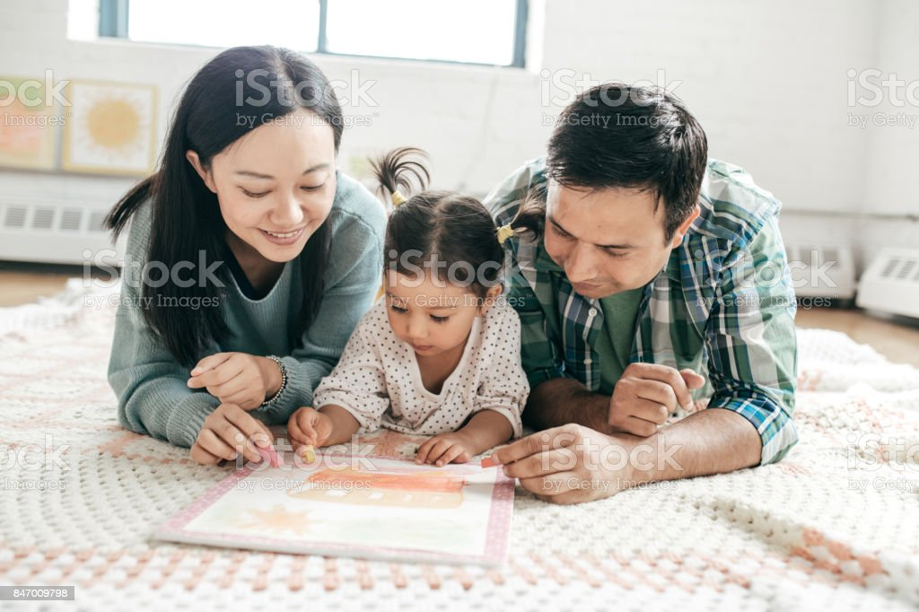 Family with one child stock photo