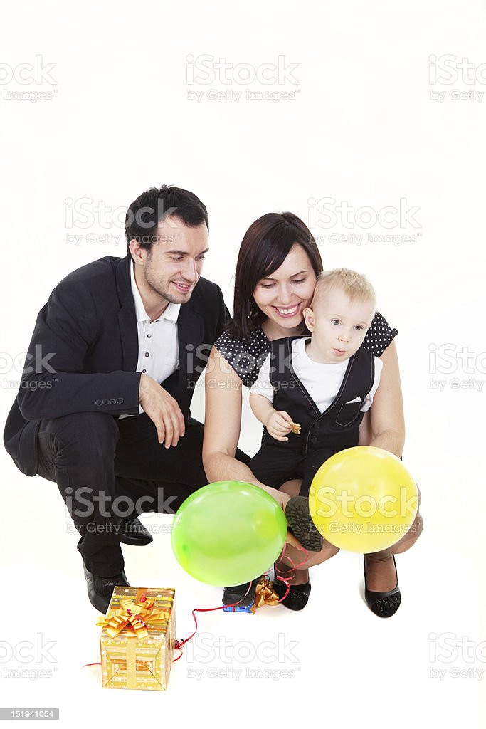 Family with presents royalty-free stock photo
