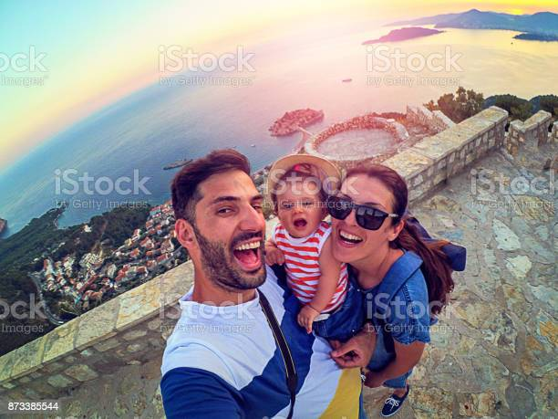Family with small daughter making selfie while travel picture id873385544?b=1&k=6&m=873385544&s=612x612&h=qo9krxa6ugp58jqof9ejajiw1b9t8wjlozec3els8ns=