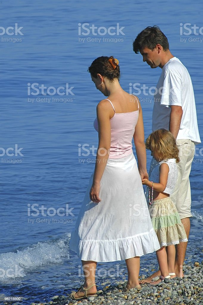 Family with small girl on seaside royalty-free stock photo