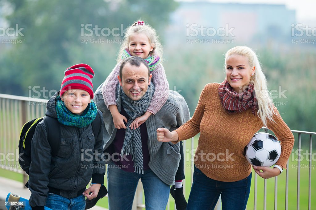 family with son and daughter stock photo