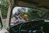 istock Family with son  near the van in forest 1095895508