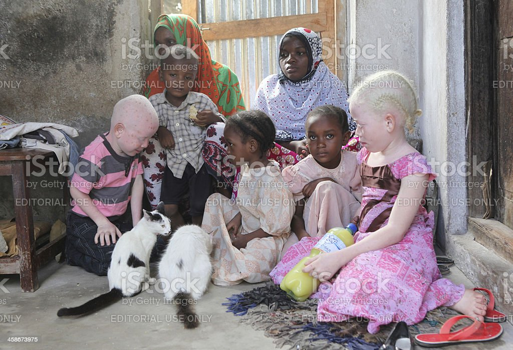 Family with Two Albino Children stock photo