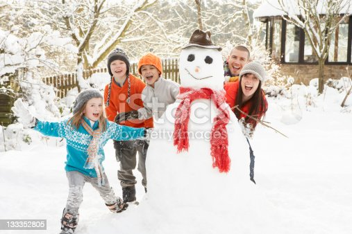 istock A family with two children building a snowman 133352805