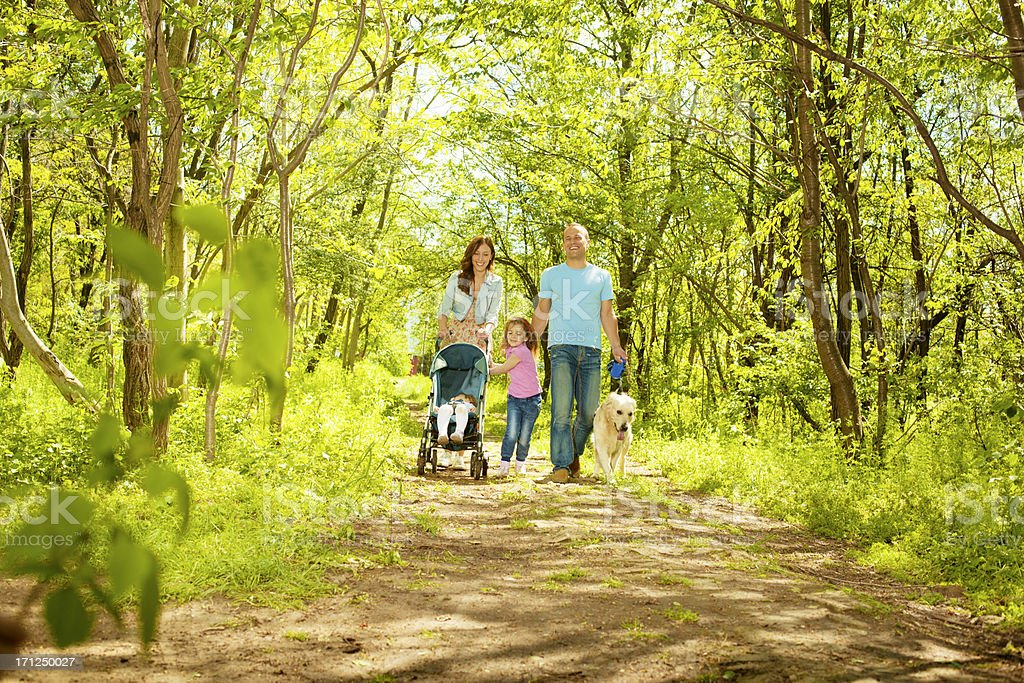 Family With Two Children Walking in a forest. stock photo