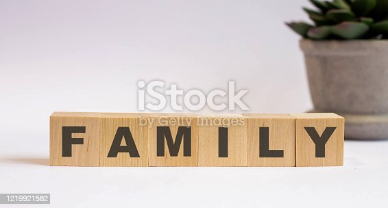 Family word written on wood block on wooden background
