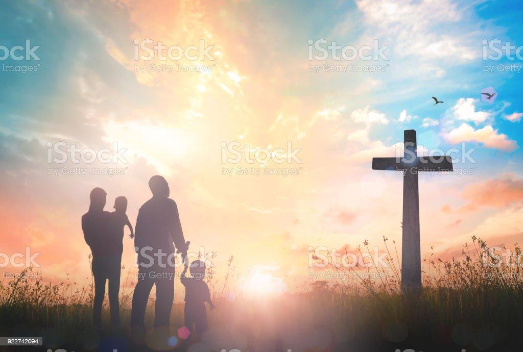Family worship concept stock photo