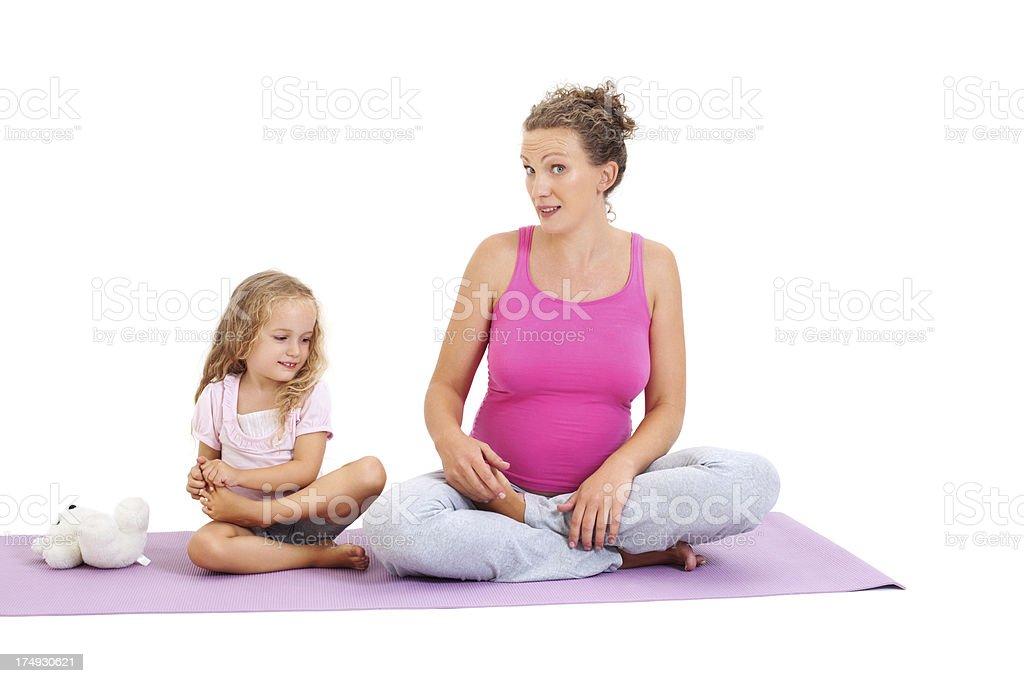 Family yoga royalty-free stock photo