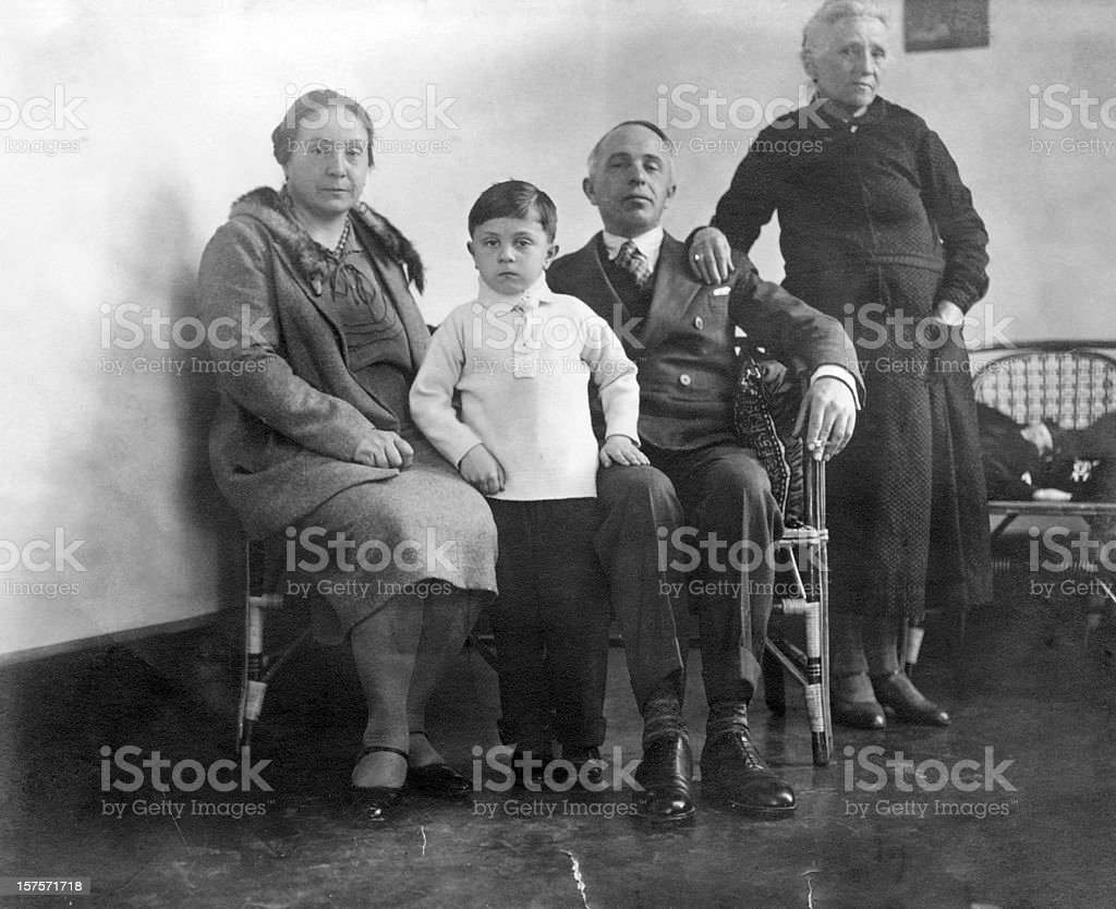 Family,1930.Black And White royalty-free stock photo
