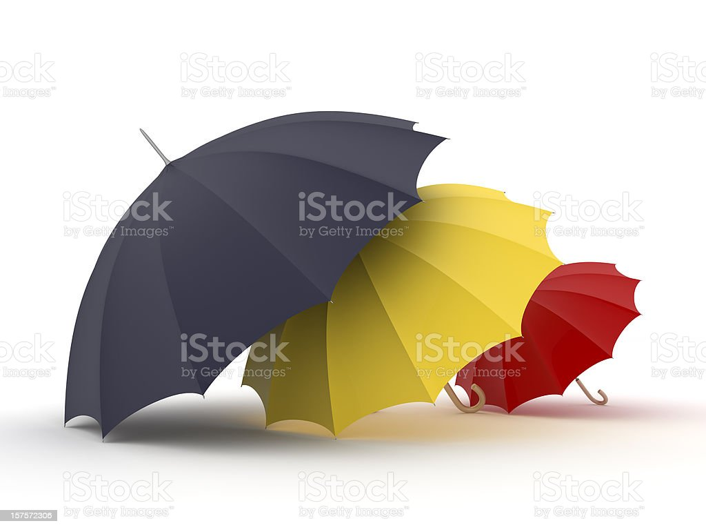 A family's umbrellas of varying sizes royalty-free stock photo