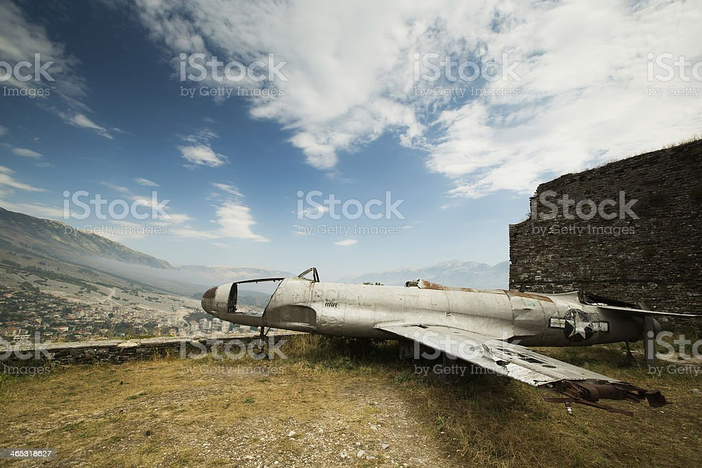 Famous airplane located in fortress of Gjirokastra, Albania stock photo