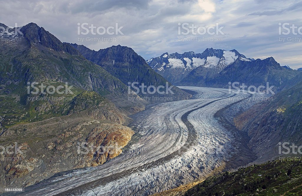Famous Aletsch glacier in the alps royalty-free stock photo