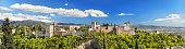 Granada, Spain - April 26, 2014: Panorama of the Famous Alhambra palace in Granada, Spain.