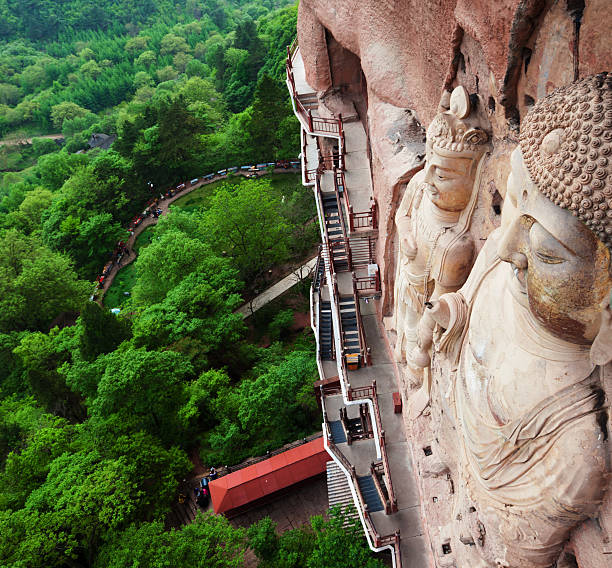 Famous ancient buddha of Maiji Mountain stock photo