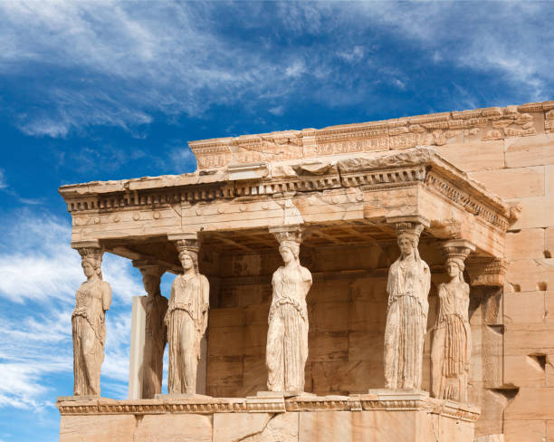 Famous ancient Erechtheion Greek temple in Athens, Greece stock photo