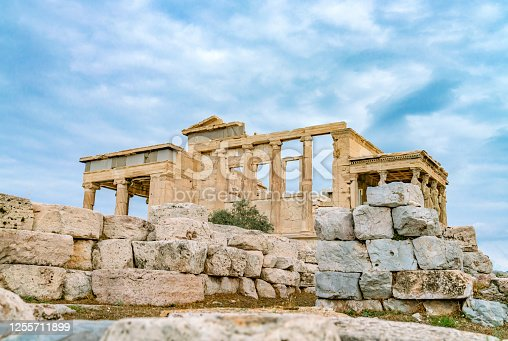 Famous ancient Erechtheion Greek temple in Athens, Greece