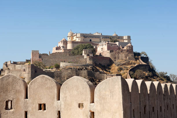 Famous ancient Kumbhalgarh fort in Rajasthan, India stock photo