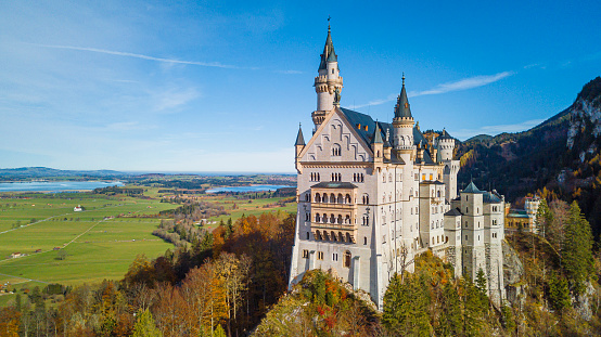 famous and beautiful Neuschwanstein Castle Germany a 19th-century Romanesque Revival palace on a rugged hill above the village of Hohenschwangau near Füssen in southwest Bavaria,