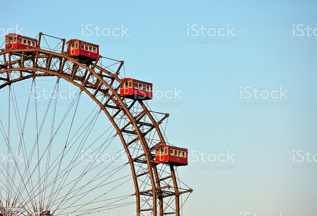 Famous and historic Ferris Wheel of prater park vienna stock photo
