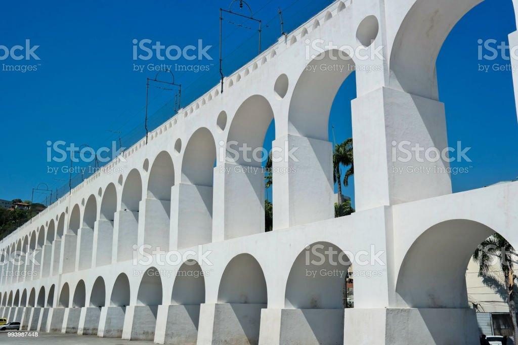 Famous Aqueduct of Rio de Janeiro (Arcos da Lapa) stock photo