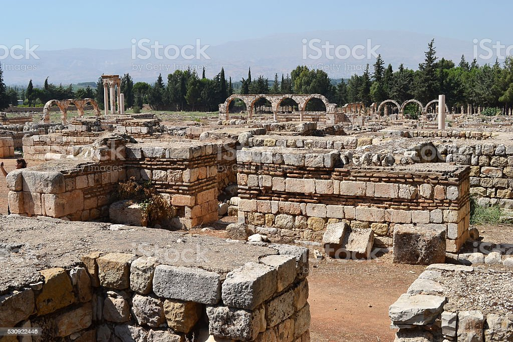 Famous arches of Anjar stock photo
