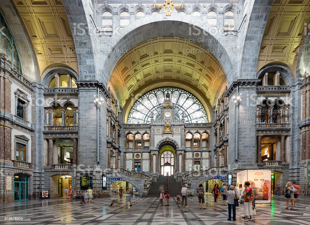 Famous Art Deco interior Antwerp main station, Belgium stock photo