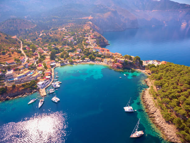 Famous Assos village in Kefalonia island stock photo