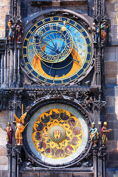 Famous astronomical clock Orloj in Prague Famous astronomical clock astronomical clock with chimes and sculptures in Prague astronomical clock prague stock pictures, royalty-free photos & images