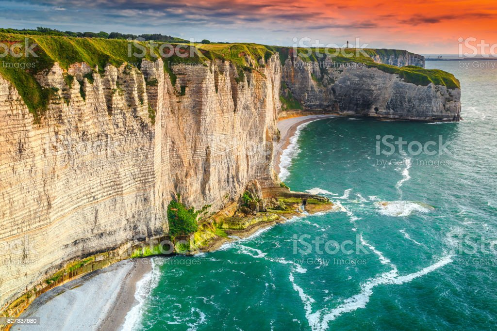 Famous beach and rocky coastline in Normandy region, Etretat, France stock photo