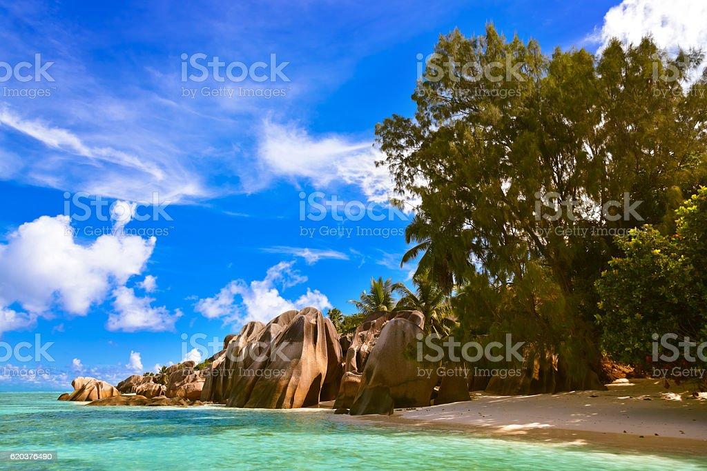 Praia de famoso fonte d'Argent em Seychelles foto de stock royalty-free