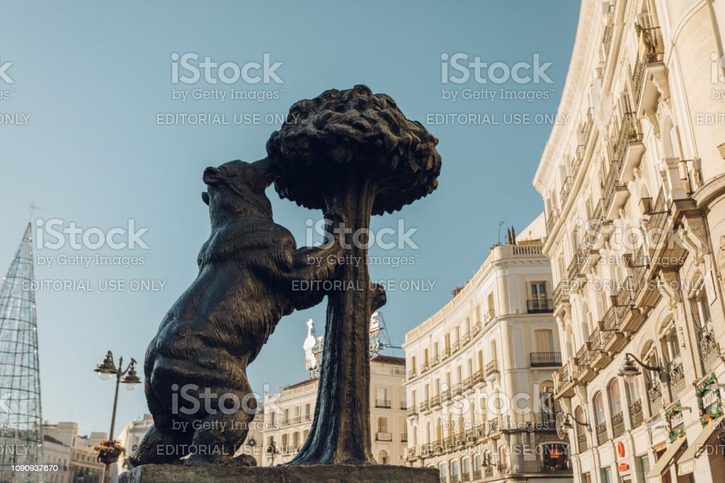 famous bear stature in Puerta del Sol stock photo