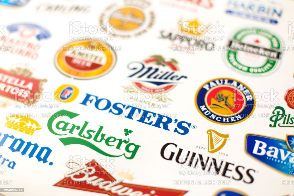 Famous beers stock photo