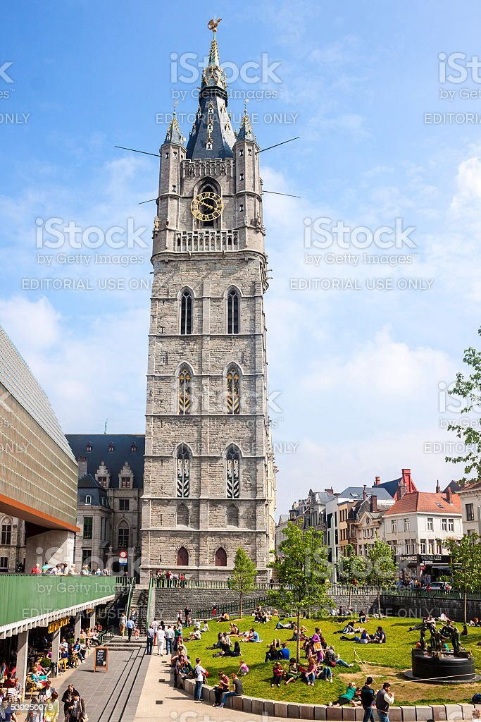 Famous Belfry tower in Gent stock photo