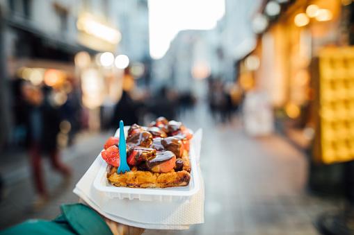 Famous Belgian waffle in Brussel