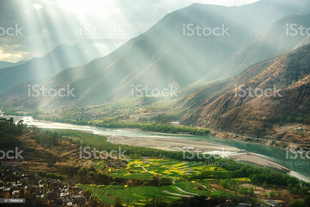 famous bend of yangtze river in Yunnan Province, China stock photo