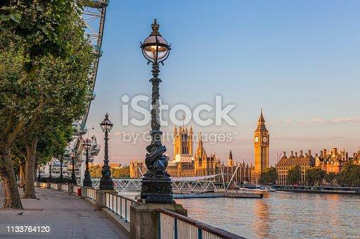 Famous Big Ben during sunset in London, England, UK