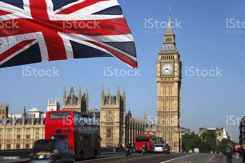 Famous Big Ben with red double-decker in London, UK stock photo