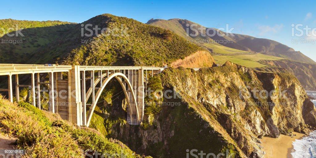 Famous Bixby Creek Bridge on Highway 1 stock photo