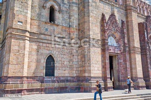 Guadalajara, Jalisco, Mexico-14 April, 2018: Famous Blessed Sacrament Temple in Guadalajara (Templo Expiatorio del Santisimo Sacramento)