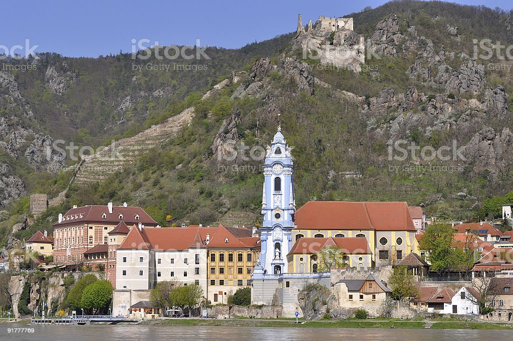 famous blue tower,Duernstein,Austria stock photo