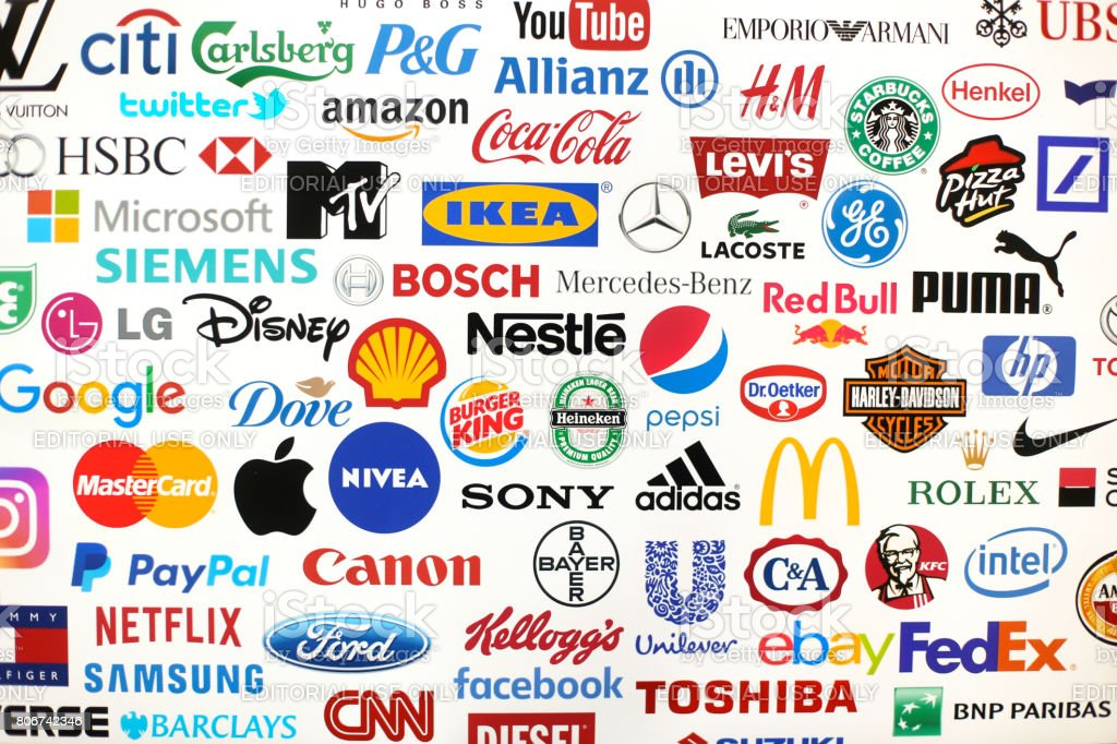 Famous brands stock photo